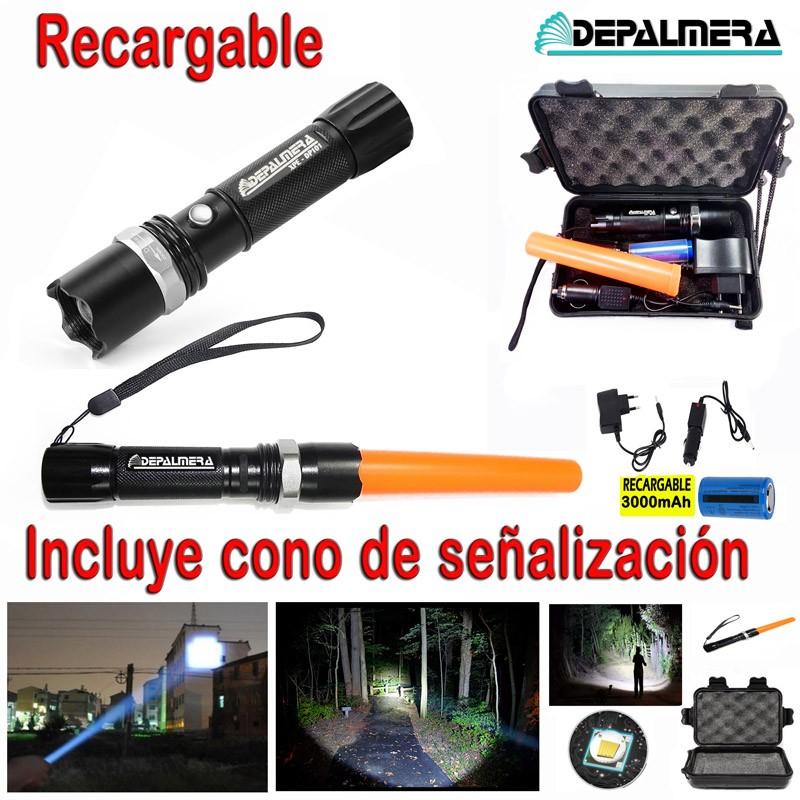 DEPALMERA® LINTERNA LED Tactica Recargable Policial Zoom Alta Potencia Trafico