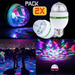Pack 2x Bombillas LED RGB E27 Giratoria Luz Discoteca DJ