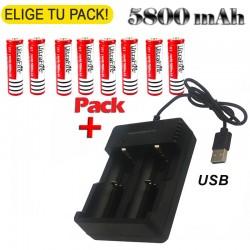 Batería Recargable 18650 5800mAh LI-ION 3,7V + Cargador USB